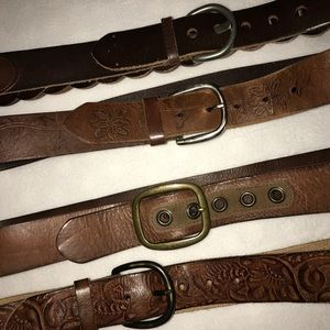 Lot of 4 Brown Leather Belts